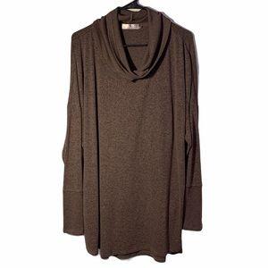 NATORI plus size grey cowl neck sweater XL